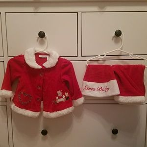 Baby girl Christmas outfit with hat